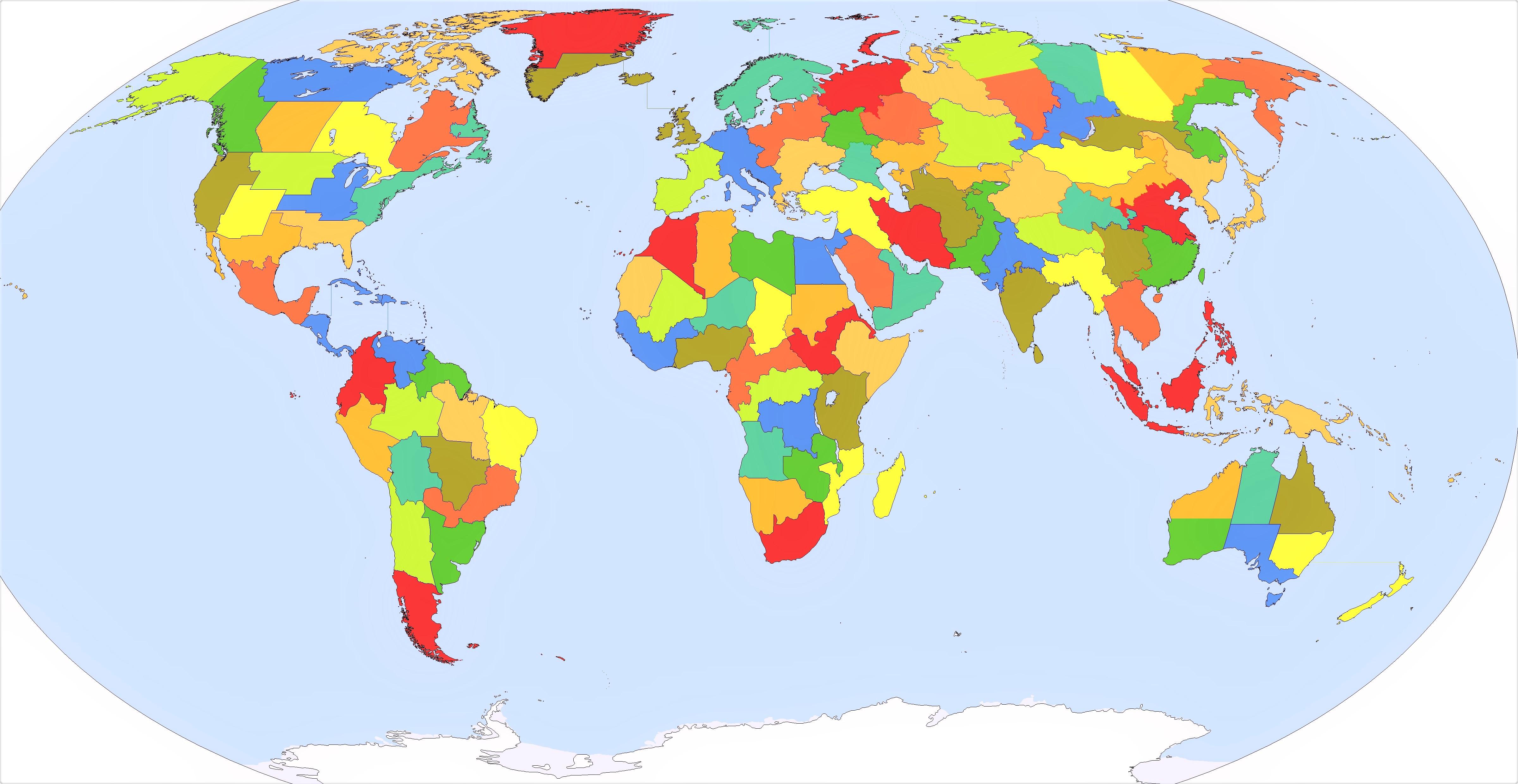 mapa mundi politico mudo a color